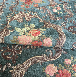 Image 4 - Deluxe Dark Green Flower Thick Polyester Rayon Chenille Floral Curtain Woven Sofa Upholstery Fabrics Vintage Cloth 280cm Width