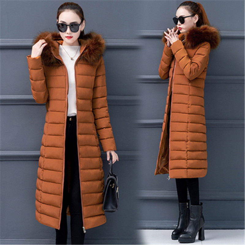 Fashion   Down     coat   winter Women 2019 New Korean Plus size Cotton women   down   parka Warm Faux Fur Collar Hooded Female Overcoat 4XL