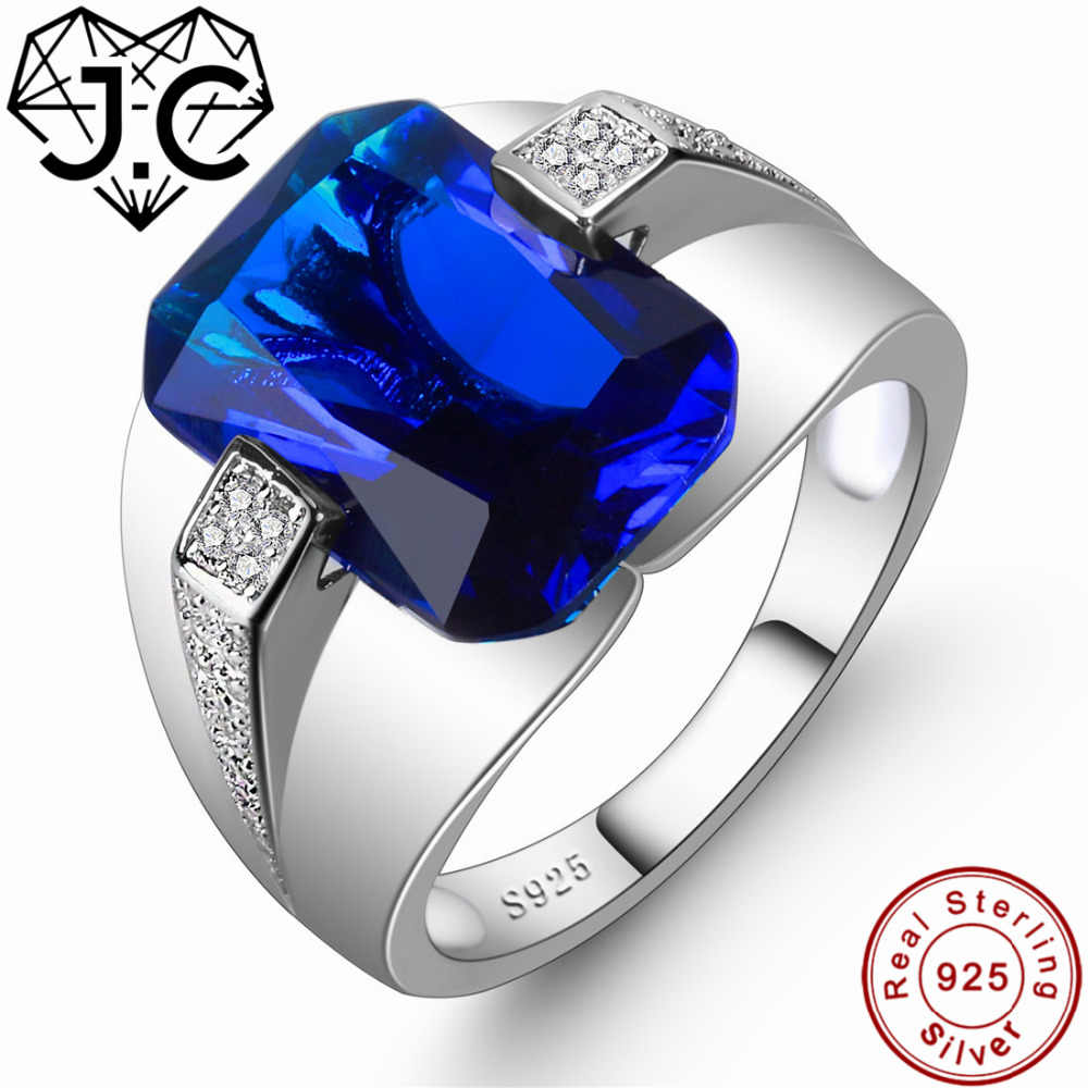 J.C For Women/Men Classic Style Fine Jewelry Brilliant Sapphire Blue & White Topaz 925 Sterling Silver Ring Size 6 7 8 9