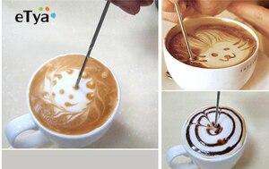 1 قطعة باريستا كابتشينو إسبرسو القهوة تزيين اتيه الفن القلم عبث إبرة الإبداعية عالية الجودة يتوهم عصا القهوة أدوات