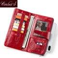 Женский кошелек Contact's  Длинный кошелек из натуральной кожи с застежкой  модный кошелек с отделением для карт