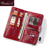 Contact's Women Wallets Genuine Leather Coin Purse Woman Hasp Design Long Clutch Wallet Fashion Card Holder Perse Portomonee