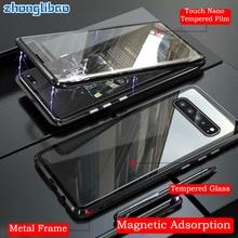 Adsorção magnética Caixa De Metal para Samsung S10 5G S9 S8 Plus Nota 9 8 A7 A9 2018 A50 A60 A70 UM 50 2019 360 Vidro Tampa de Corpo Inteiro
