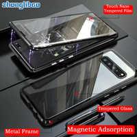 Adsorción magnética de Metal para Samsung S10 5G S9 S8 Plus Nota 9 8 A7 A9 2018 A50 A60 A70 A 50 2019 de vidrio 360 cubierta de cuerpo completo
