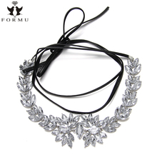 Women Choker ZA Necklace Crystal Inlaid Metal Charms Linked Long Leather Chain Statement Collar Necklace Jewelry Wholesale NK24