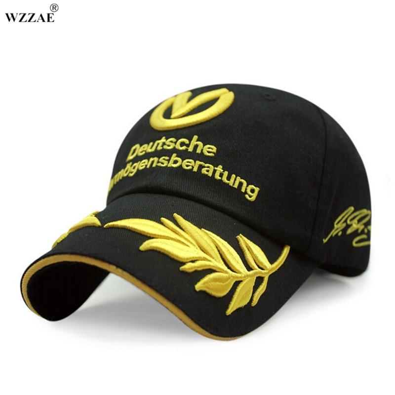 Prix pour Wzzae 2017 nouveau noir et rouge snapback bouchons boucle réglable pour schumacher signature f1 formule une marque de mode casquettes de baseball