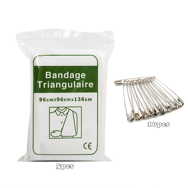 5pcs Triangular Bandages Safety Pins Non-woven Bandage For Arm Sling First Aid Kits Supplies Outdoor Emergency Wound Treatment
