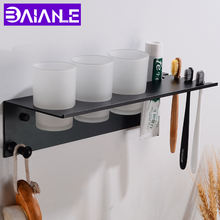 Toothbrush Holder Black Space Aluminum Bathroom Accessories Set with Three Cup Wall Mounted Shelves Hooks