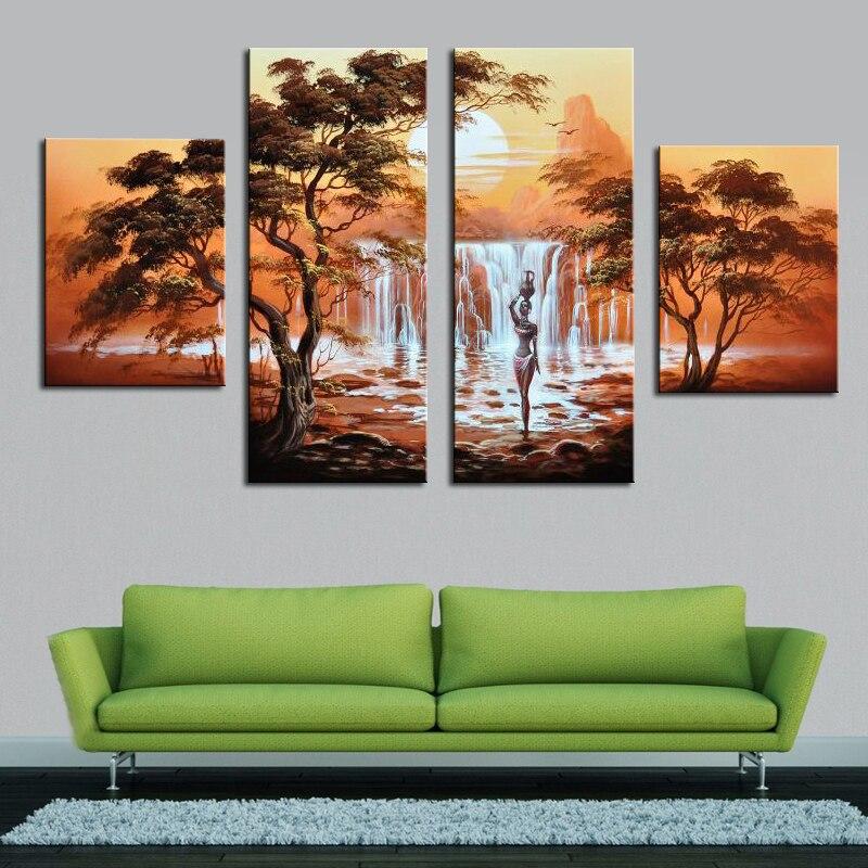 Bezrámový výprodej Ruční olejomalba plátno Africké nahé ženy Moderní 4-dílné nástěnné umění Domácí dekorace Obrázek do obývacího pokoje