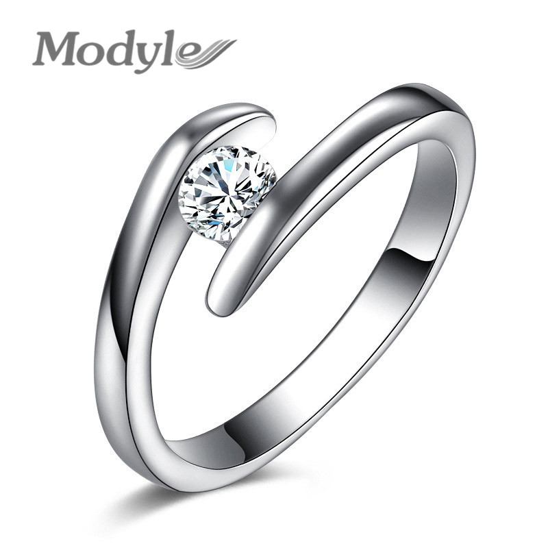 Modyle 2018 New Fashion 925 Sterling Silver Jewelry Luxury 0.5 ct CZ Wedding Rings for Women gold earrings for women