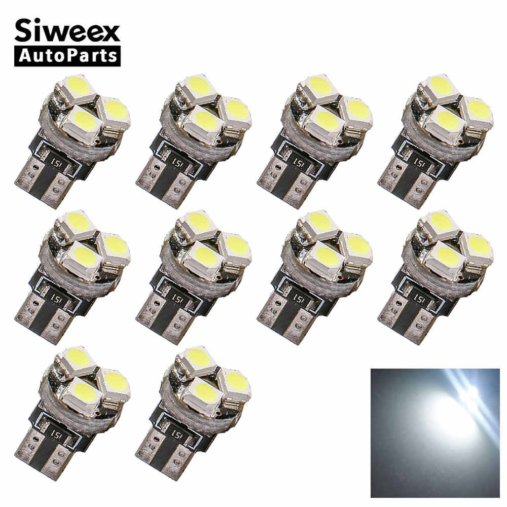 10 Pcs T5 3528 1210 3 SMD Car Wedge LED Dashboard Bulb CANBUS Error Free License Plate Light Lamp DC 12V White