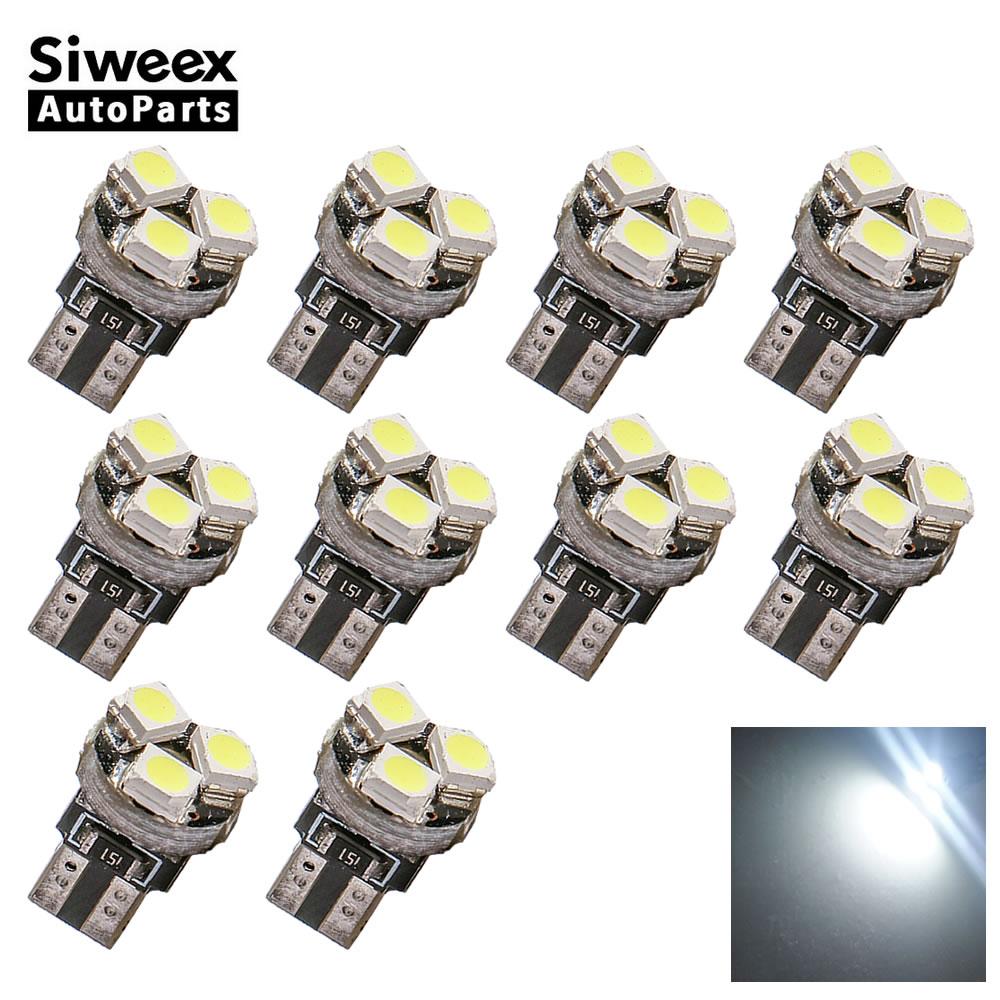 10 Pcs T5 3528 1210 3 SMD Car Wedge LED Dashboard Bulb CANBUS Error Free License Plate Light Lamp DC 12V White
