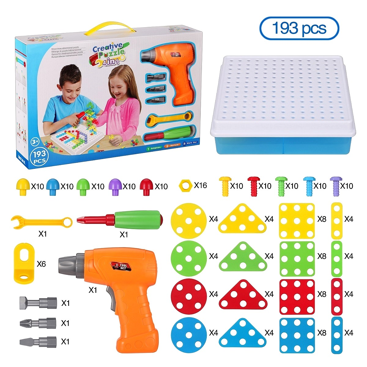 STEM Learning Toys Drill Play Creative Educational Games Mosaic Design Kit Construction Engineering Building Blocks Pretend Play 196pcs building blocks urban engineering team excavator modeling design