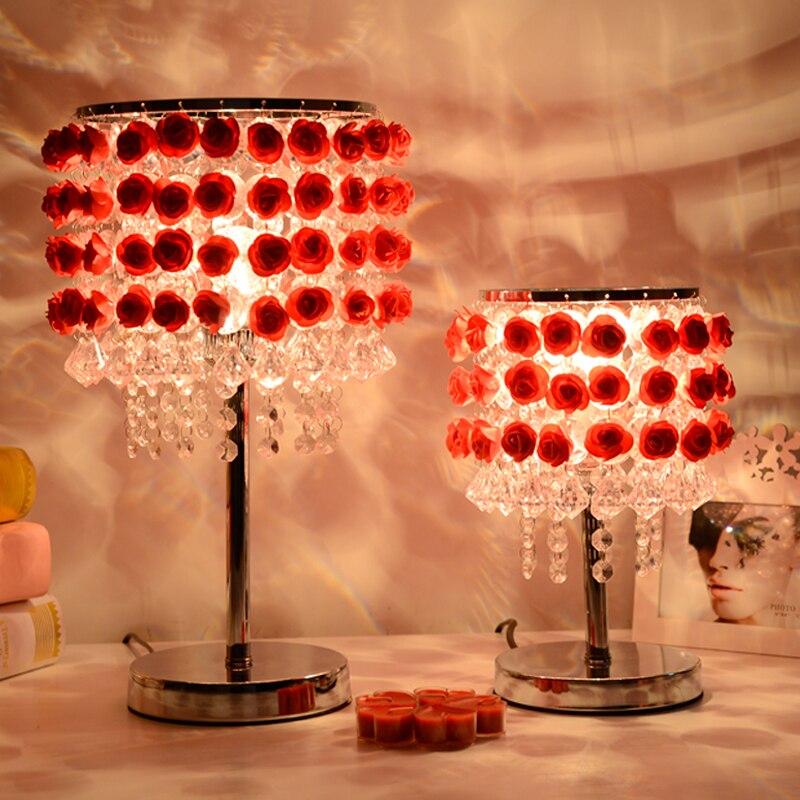 Персонализированные Творческий свадебный подарок настольные лампы моделирование Роза Кристалл Настольная лампа гостиная спальня ночники...