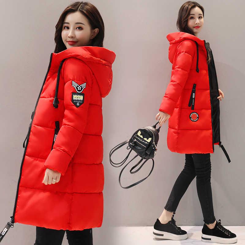 2018 новая зимняя куртка женская пуховая куртка Женская длинная секция Толстая хлопковая одежда модная куртка с капюшоном