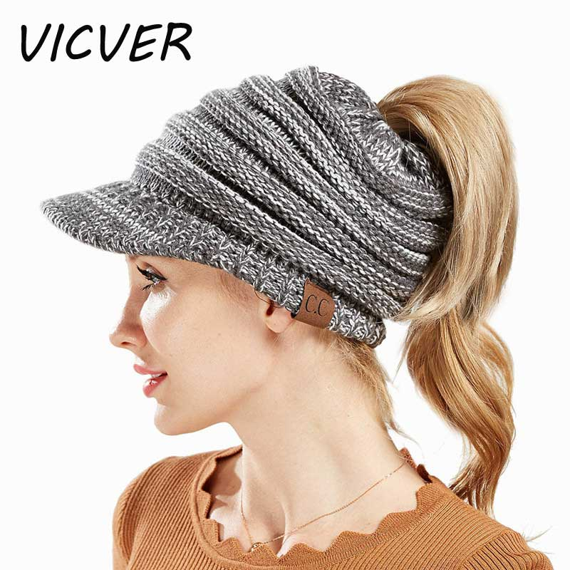 8800b808 Women Ponytail Beanie Messy Bun Hats CC for Ladies Skullies Beanies Knitted  Warm Bone Ski Cap Solid Color Hip Hop Crochet Hat