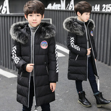 Children's Clothing Boys Winter Clothes Down Coat Long Parka Hooded Black Children's Coat For Boy Thick Teenagers Coats Jacket