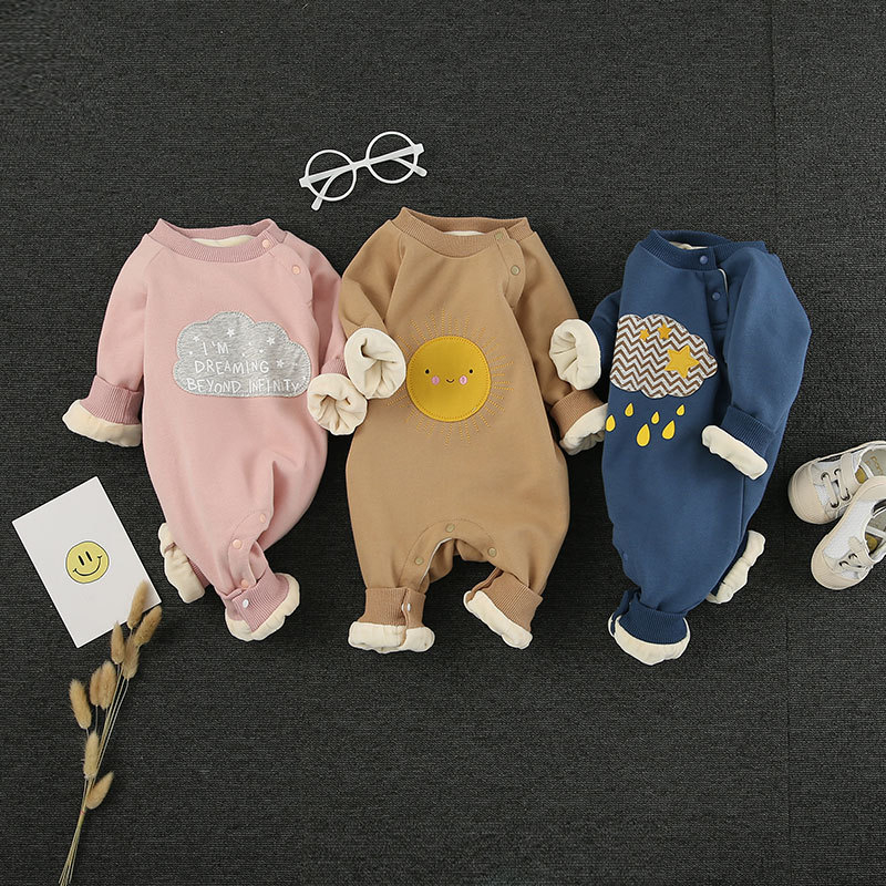 Newborn Baby   Rompers   Cotton Long-sleeve Jumpsuits Cartoon Cute Infant Costumes thunderstorm Cloud smile face boys girls clothing