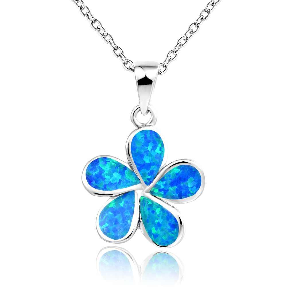 DORMITH 925 sterling silver created blue or white red fire opal Flower pendants necklace for women jewelry