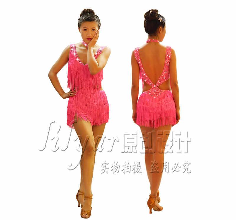 e979122d41 Sparkly Rhinestones Latin Dance Dresses For Women S L Red Sexy Salsa ...