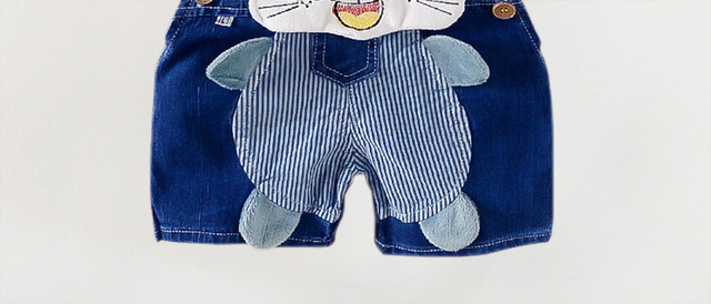 BibiCola boys bib pants summer denim shorts baby jeans casual cartoon tiger trousers infant denim jeans pants children shorts