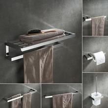 Modern Chrome Bathroom Hardware Set Towel Hanger Toilet Brush Holder Arabic Bathroom Accessories Polished 304 Stainless Steel