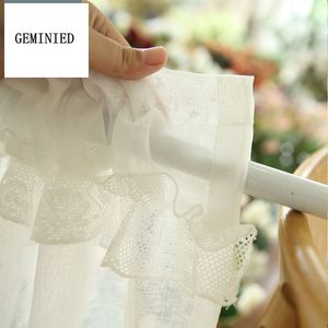 Image 4 - Short Tulle Curtains for Kitchen Finished White Floating Tulle Sheer Yarn Curtain Rod Pocket for Cabinets Short Curtain for Cafe