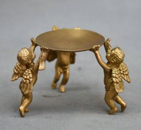 Chinese Bronze Gilt Kid Boy Angel Candlestick Candle Holders Statue Figurine