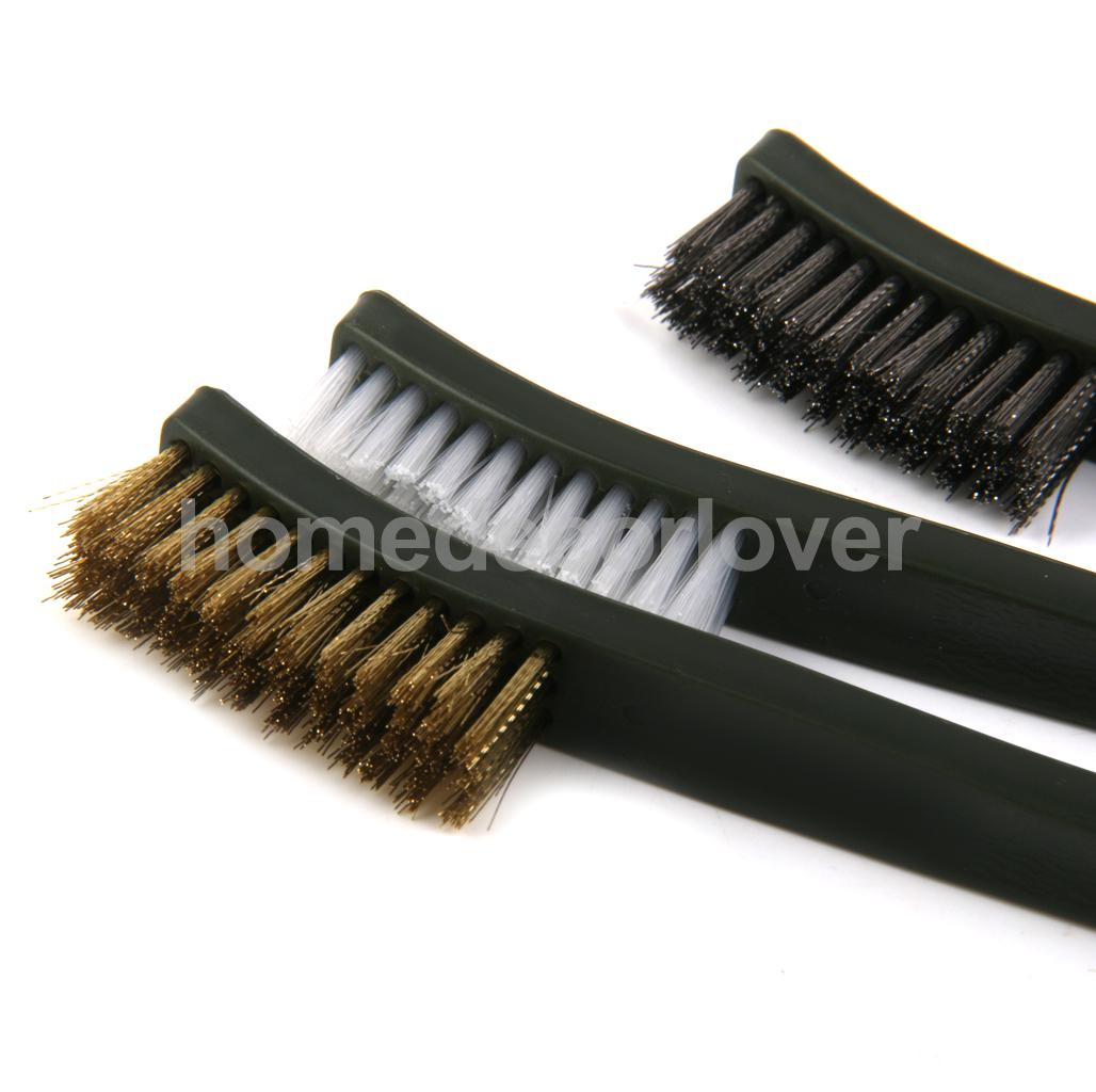 3x Wire Brush Set Welding Garage Cleaner Brass Stainless Nylon Cleaning Tool