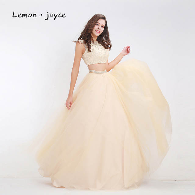 Online Shop Lemon joyce Quinceanera Dresses Ball Gowns 2019 Two-Piece  O-neck Backless Beading Lace Long Party Prom Dress Plus Size  f91249553831