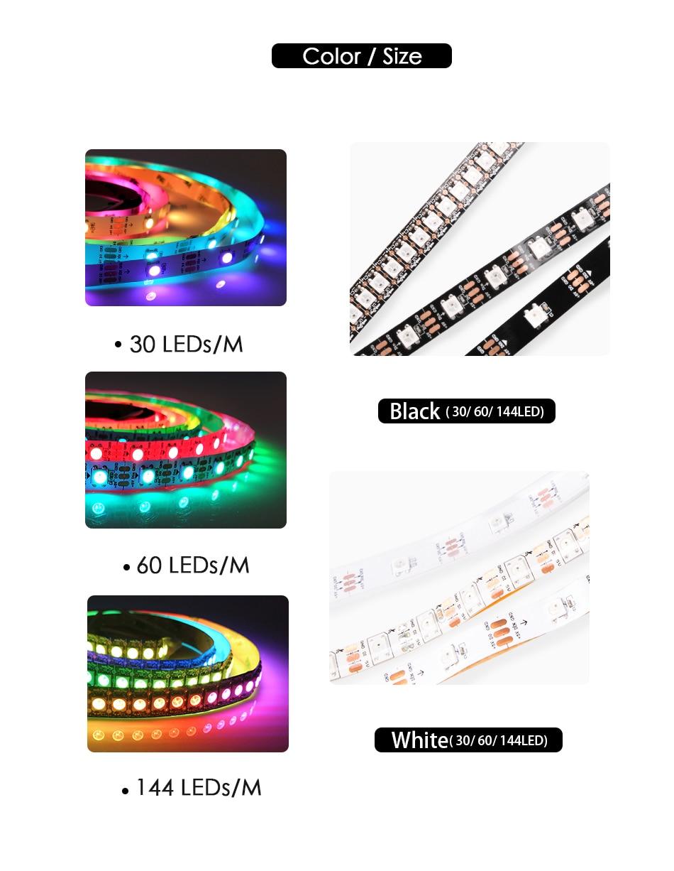 HTB1FIeCX.T1gK0jSZFhq6yAtVXaw WS2812B DC 5V LED Strip RGB 50CM 1M 2M 3M 4M 5M 30/60/144 LEDs Smart Addressable Pixel Black White PCB WS2812 IC 17Key Bar