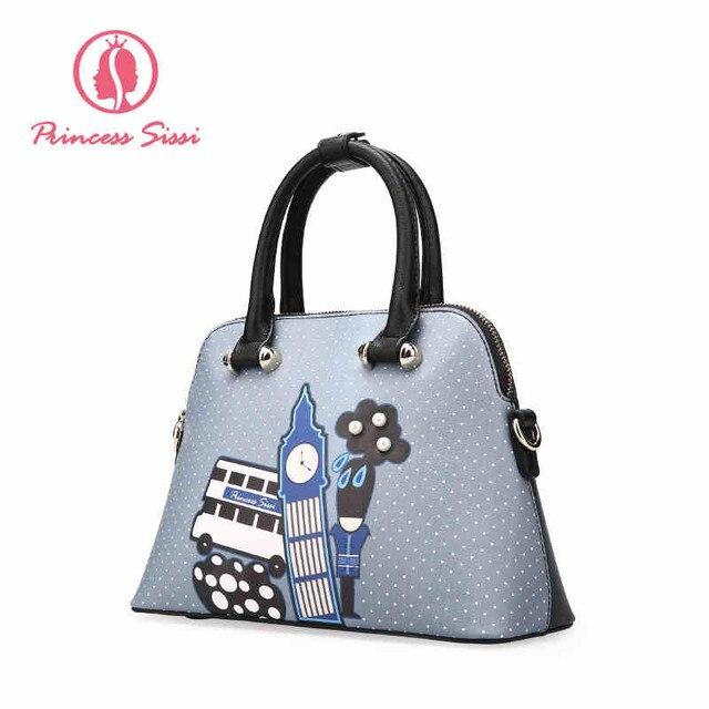 Princess Sissi Fashion Crossbody Bags 2017 Gray Soft Woman Handbag Designers Brand Luxury High Quality Pu