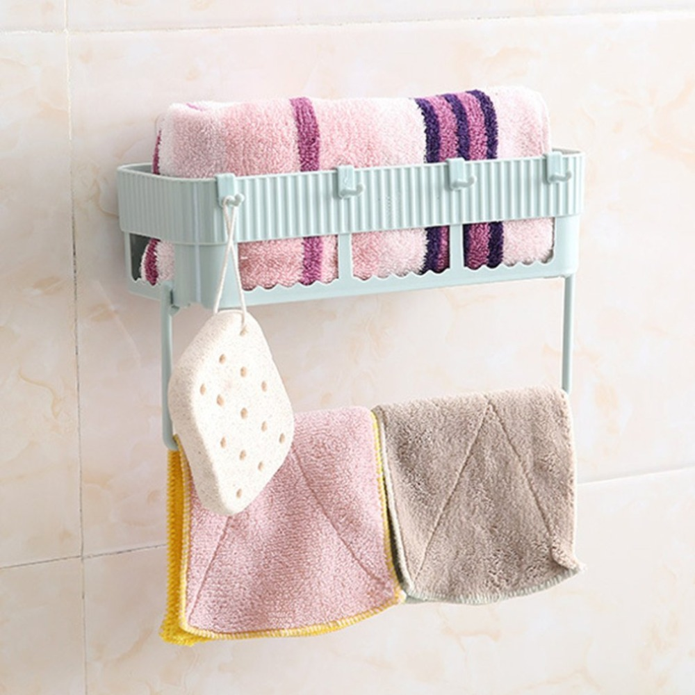 Creative Home Bathroom Storage Rack Holder Wall Mounted Storage Hanger Kitchen Towel Clothes Shelf Rack With 4 Hooks Drop Ship
