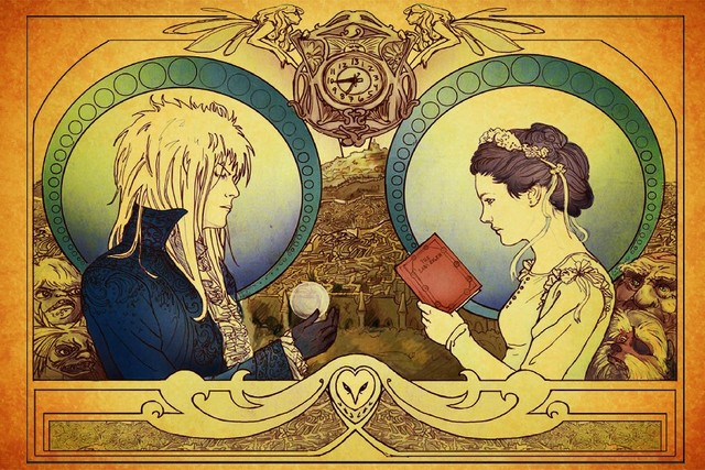 Labyrinth (1986) david bowie music poster Print Canvas silk Fabric ...