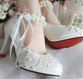 Rhinestone pearl bridal shoes in stock quick shipping flower wedding shoes custom make different heel for brides XNA 070