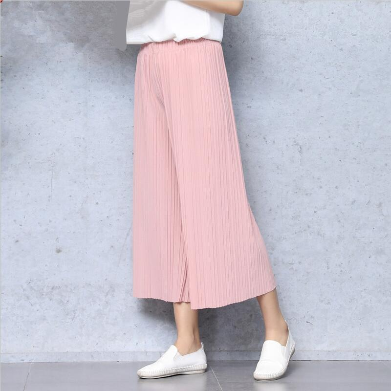 Pleated Loose Casual   Wide     Leg     Pants   Elastic Waist Comforteble Solid Color Trousers Woman Summer Cotton Linen Calf-length   Pants