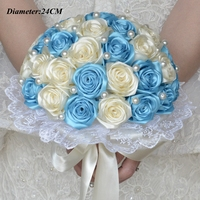 Bán Hot handmade Rose Ngà & blue Hoa Cưới Bó Hoa Fleur Bleu Roi Bridal Brooch Bouquet ngọc trai Bouquet De Mariage
