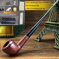 NewBee 10 Smoking Tools Handmade Briar Wood Polo Smoking Pipe Small Long Stem Straight Tobacco Pipe