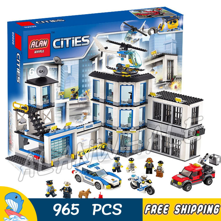 965pcs City Police Station Base Construction Model Building Blocks 02020 Assemble Children Toy Bricks Movie Compatible With Lego dhl lepin 02020 965pcs city series the new police station set model building set blocks bricks children toy gift clone 60141