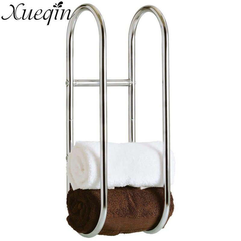 xueqin wall mounted metal bath towel rack folding movable