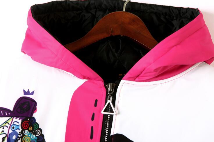 À Hiver Impression Chaud Manteau Capuchon Multi Automne Vêtements Vestes Femmes Dessinée Taille Outwear Longue De Bande Grande Veste Lâche ww8qSPxH