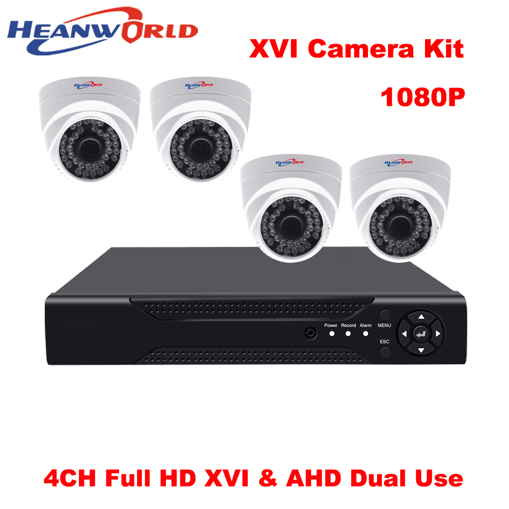 XVR DVR 4CH Kit 1080P CCTV Camera System 2 mp DVR Kit HD 4 Channel Home Security System Dome AHD Surveillance Camera Kit 4pcs