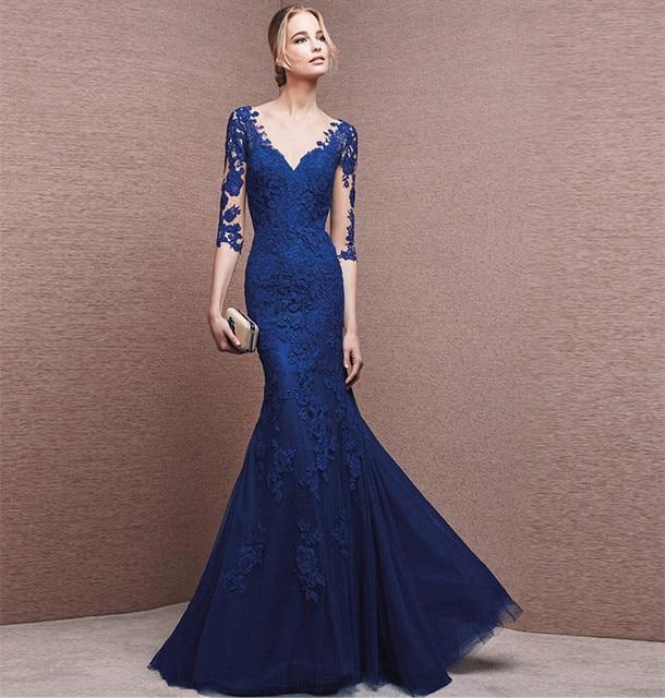 b437ace595 Moda Largo Azul Real Vestido de Fiesta de Encaje 2016 Sirena Vestidos de  Noche Formales de