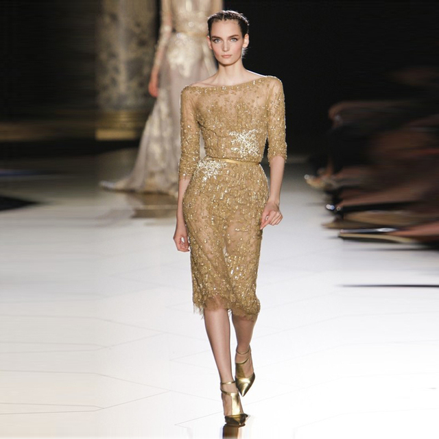 Zoe saldana Celebrity Party Dresses Sheath Half Sleeve Backless Appliques Sequins Beads Knee-length Elie saab Evening Dresses