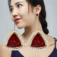 Fashion Brand Vintage Geometric Triangle Crystal Stud Earrings For Women Trendy Classic Rhinestone Earring Wedding Jewelry