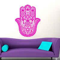 Искусство новый дизайн дома стены виниловые наклейки Йога защитный амулет рука Фатимы плакат с изображением Будды арабский счастливый ном...