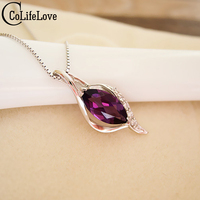100 Natural Amethyst Pendant Necklace Crystal 925 Solid Sterling Silver New Fashion Pendant For Woman Best