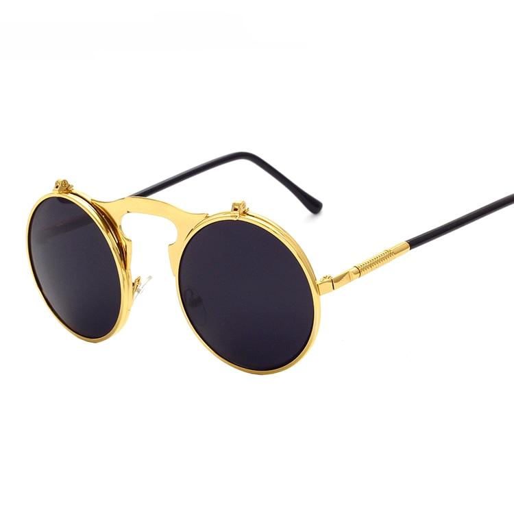 R.B.SKY men vintage round steampunk sunglasses men small round flip up sunglasses women retro metal silver cheap uv400