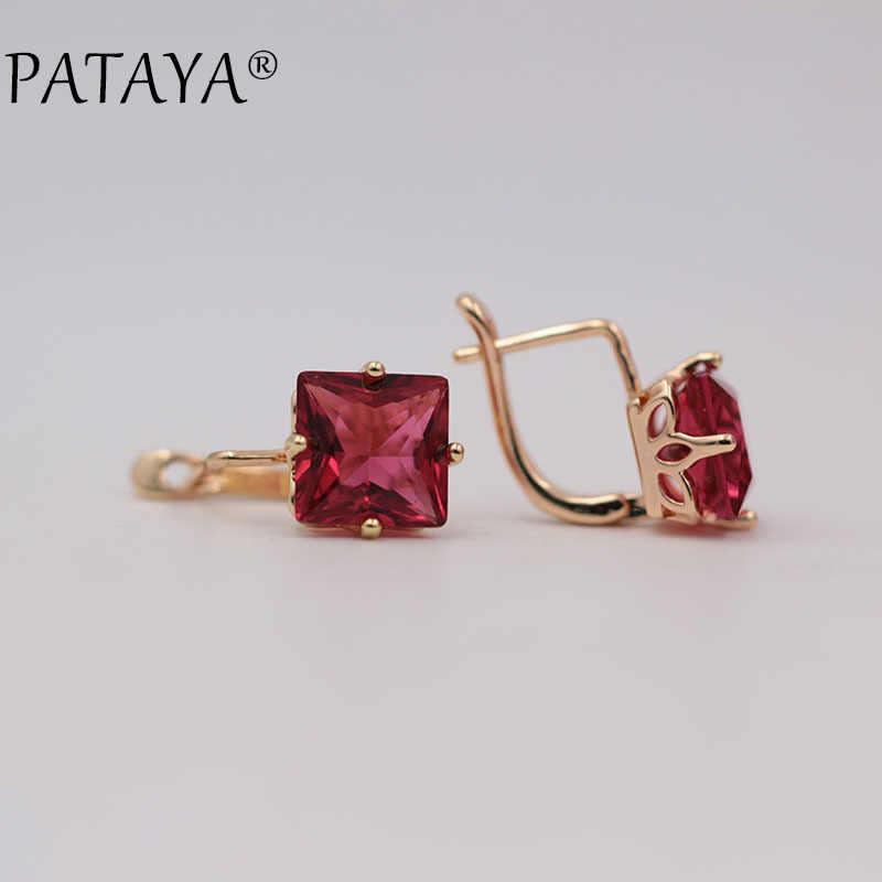 PATAYA New Trendy Wedding Earrings Women 585 Rose Gold Color Jewelry Fashion Big Square Pink Natural Zircon Luxury Drop Earrings