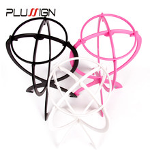 Plussign 1Pc Ajustable Wig Stands Plastic Hat Display Wig Head Holder Mannequin Head/Stand Portable Folding Wig Stand Black Pink(China)